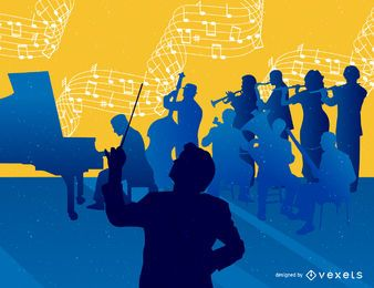 Fundo de orquestra musical