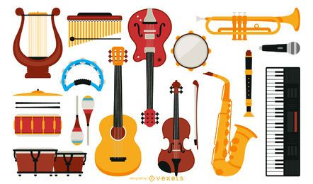Colección de instrumentos musicales planos