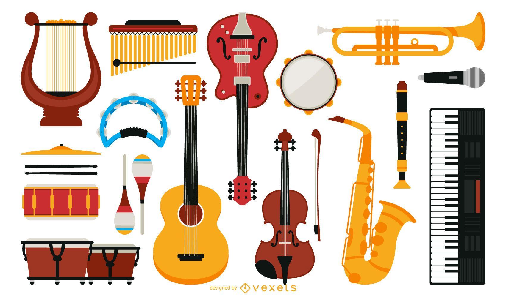 Colecci 243 N De Instrumentos Musicales Planos Descargar Vector