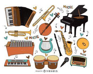 Coleção de desenhos animados de instrumentos musicais