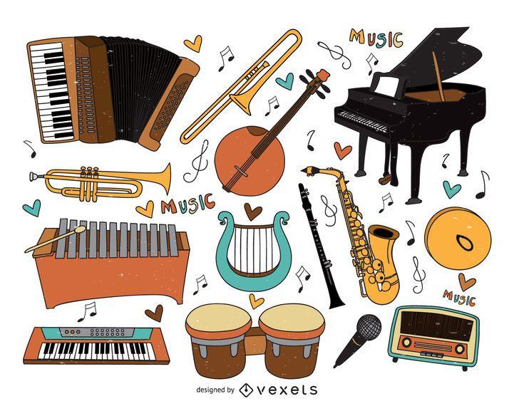 Colección de dibujos animados de instrumentos musicales.