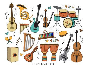 Musical instruments cartoons set