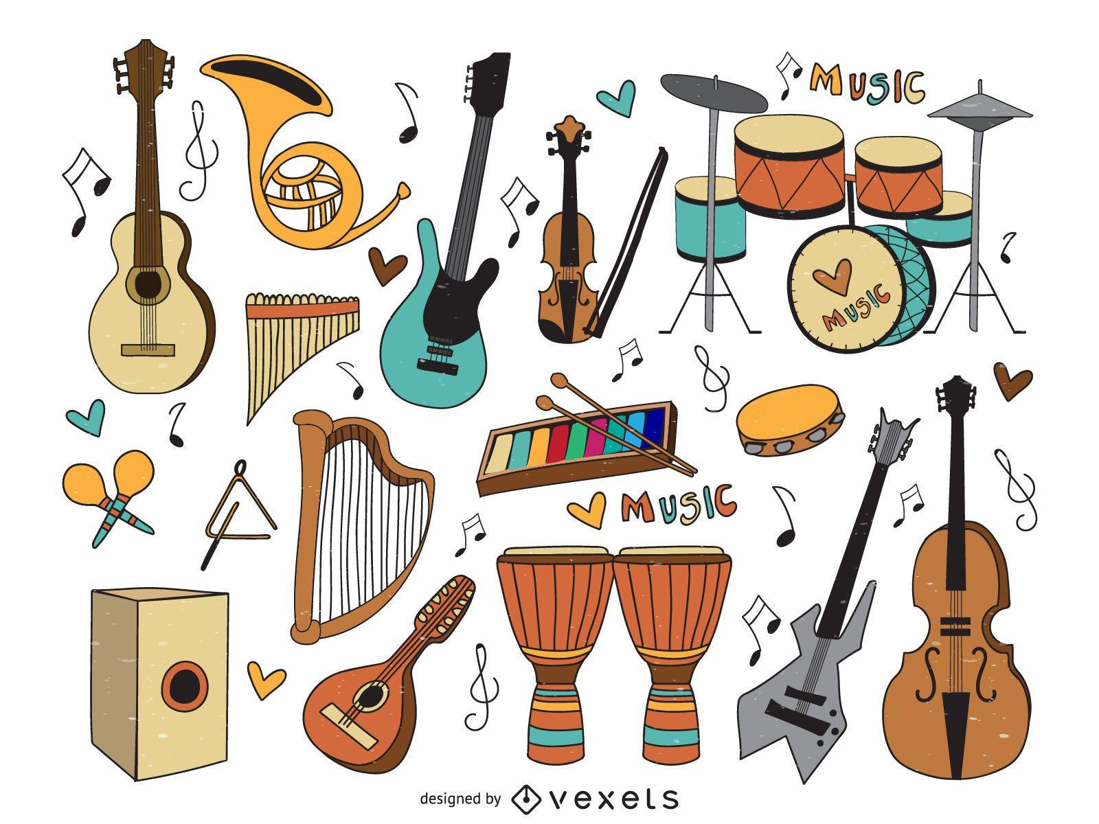 Conjunto de dibujos animados de instrumentos musicales.