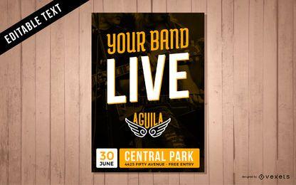 Cartel de actuación en vivo de la banda de música