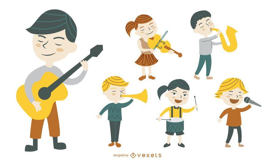 Colección de ilustraciones de personajes de música.
