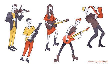 Coleção de ilustração de músicos de desenhos animados