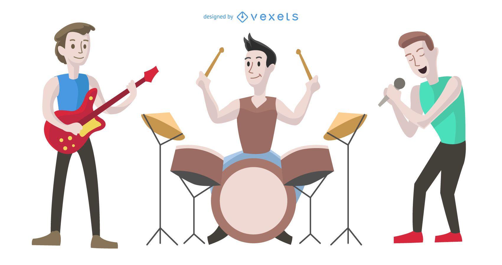Ilustración de dibujos animados de banda de niños