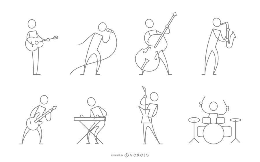 Trazo músico de colección de personajes.