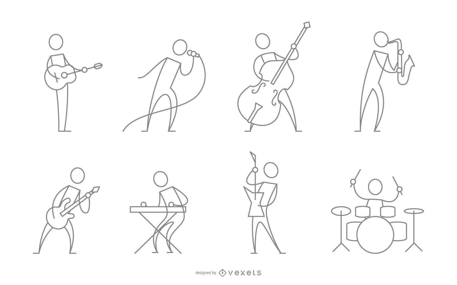 Colección de personajes de músicos de trazo