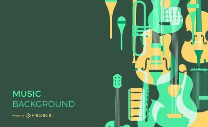 Fondo de instrumentos musicales superpuestos