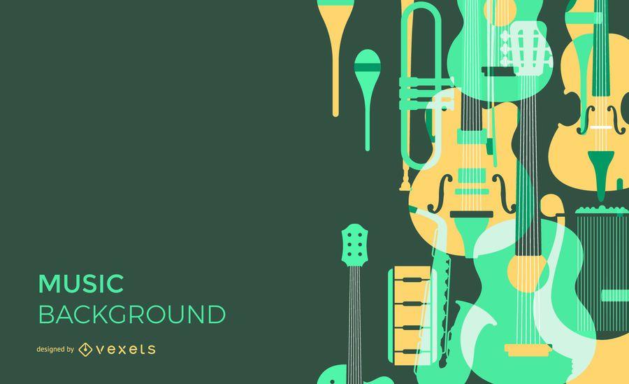 Fundo de sobreposição de instrumentos musicais