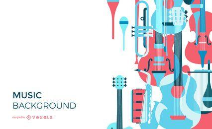 Overlay-Hintergrunddesign der Musikinstrumente