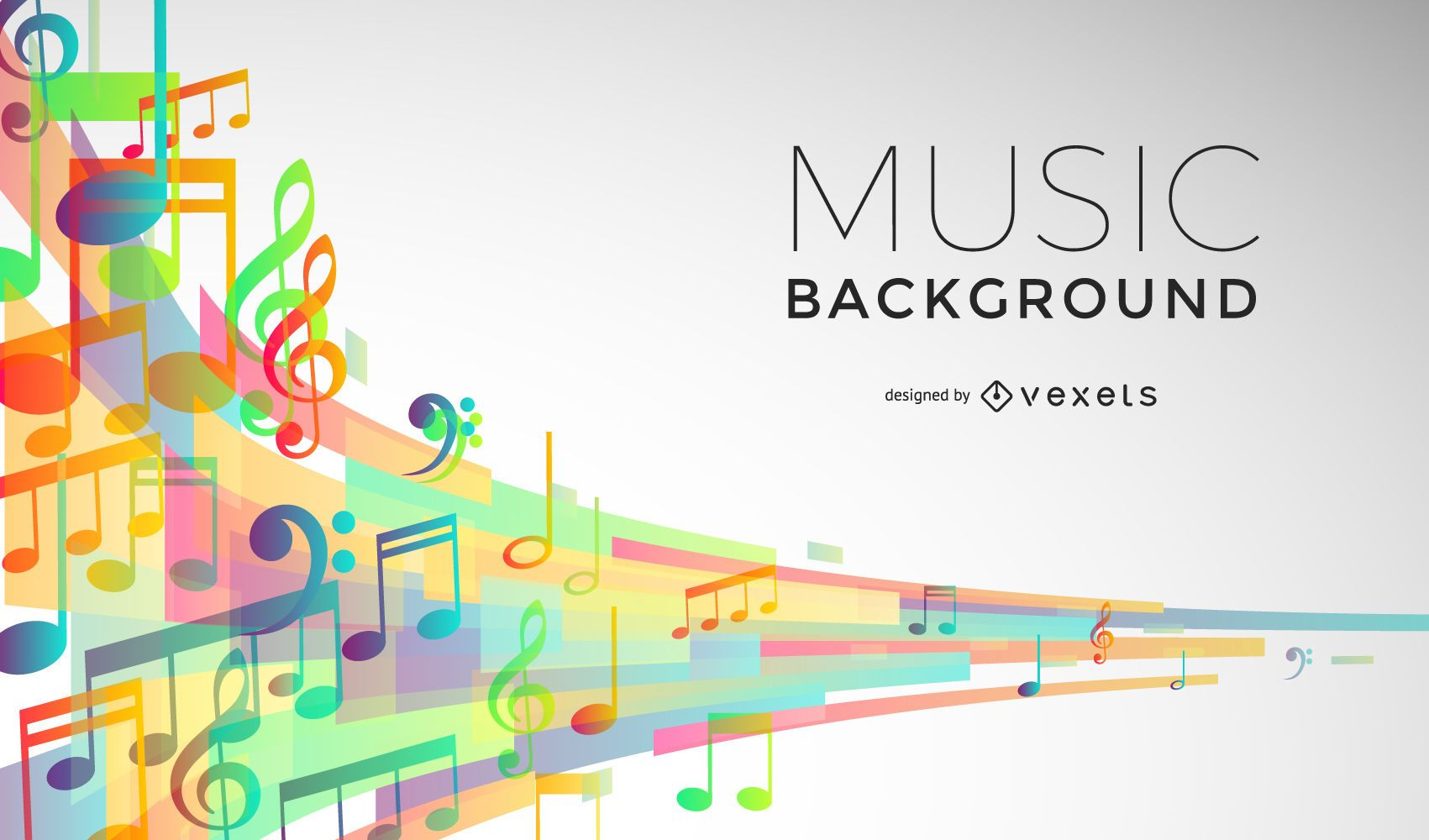 Music signs flow background