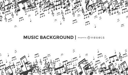Fundo de notas musicais artísticas