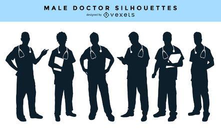 Colección de siluetas de médico masculino