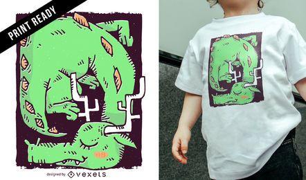 Diseño de camiseta de niños dragón durmiendo