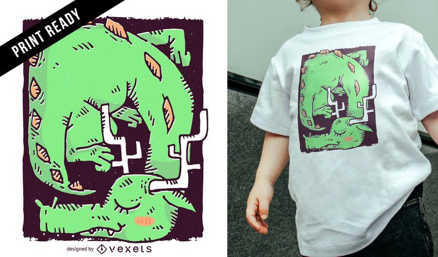 Dragão adormecido crianças design de t-shirt