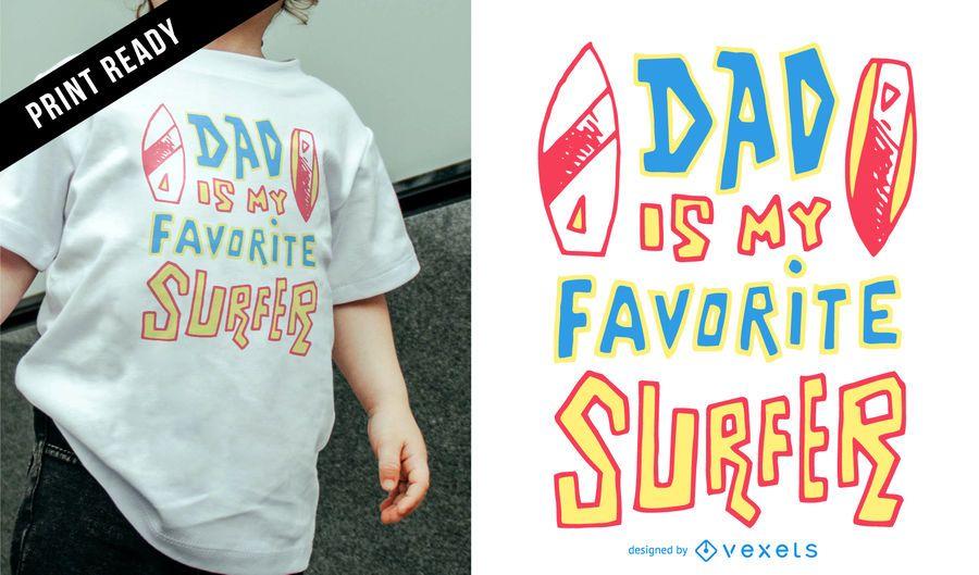 Diseño de camiseta de papá surfista infantil.