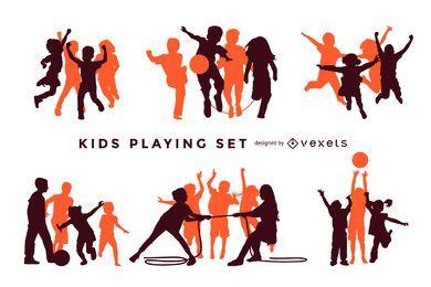 Niños jugando siluetas conjunto