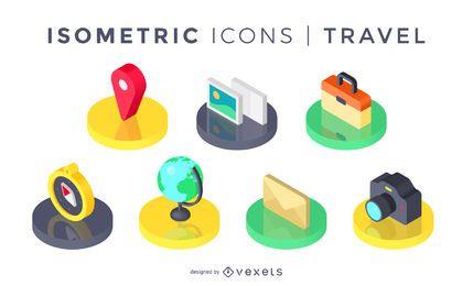 Conjunto de iconos de viaje isométrica