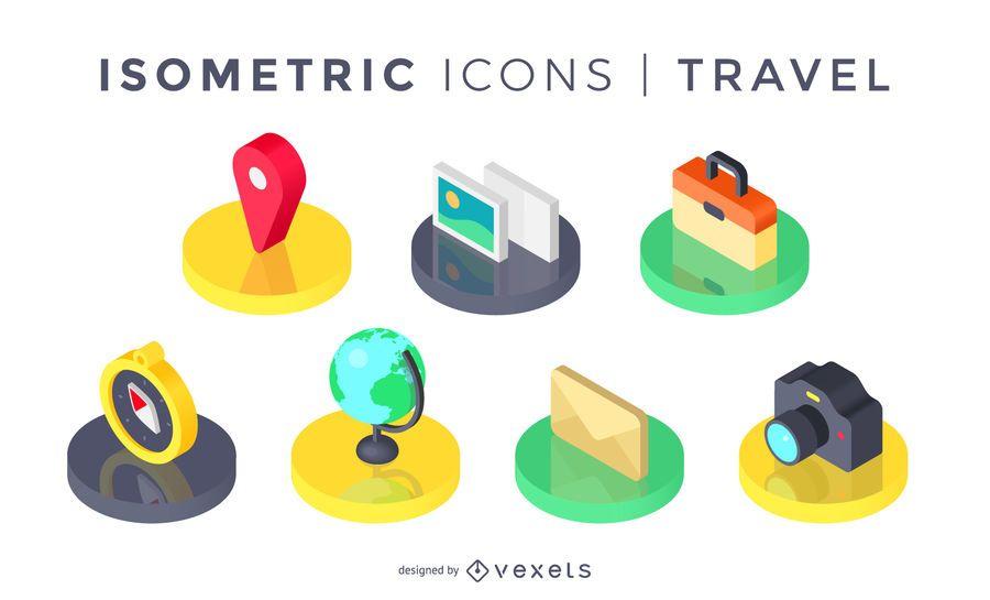 Conjunto de ícones de viagens isométrica