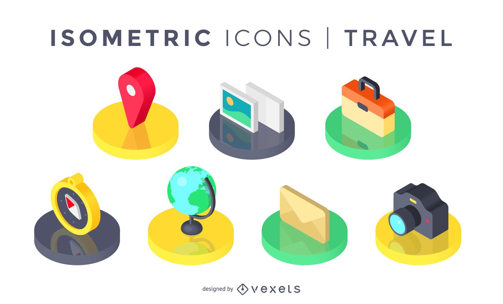 Isometric travel icons set
