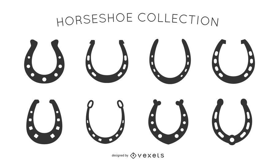 Coleção de silhuetas de ferradura