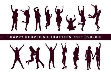 Coleção de silhuetas de pessoas felizes