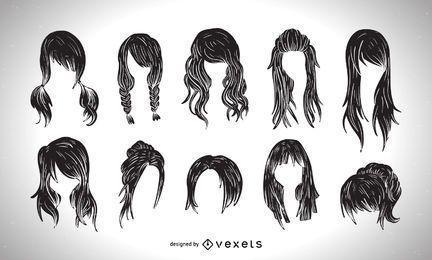 Colección gráfica del estilo del corte de pelo de las mujeres