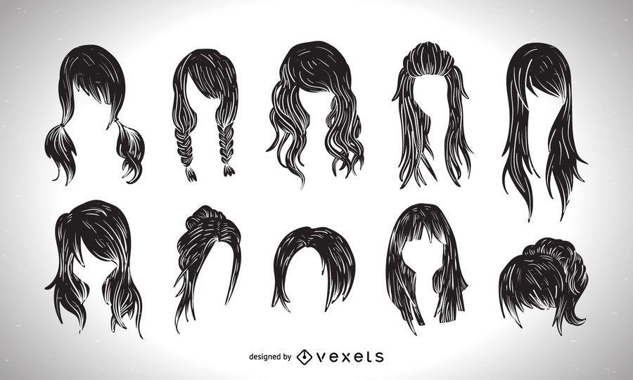 Coleção gráfica de estilo de corte de cabelo de mulheres