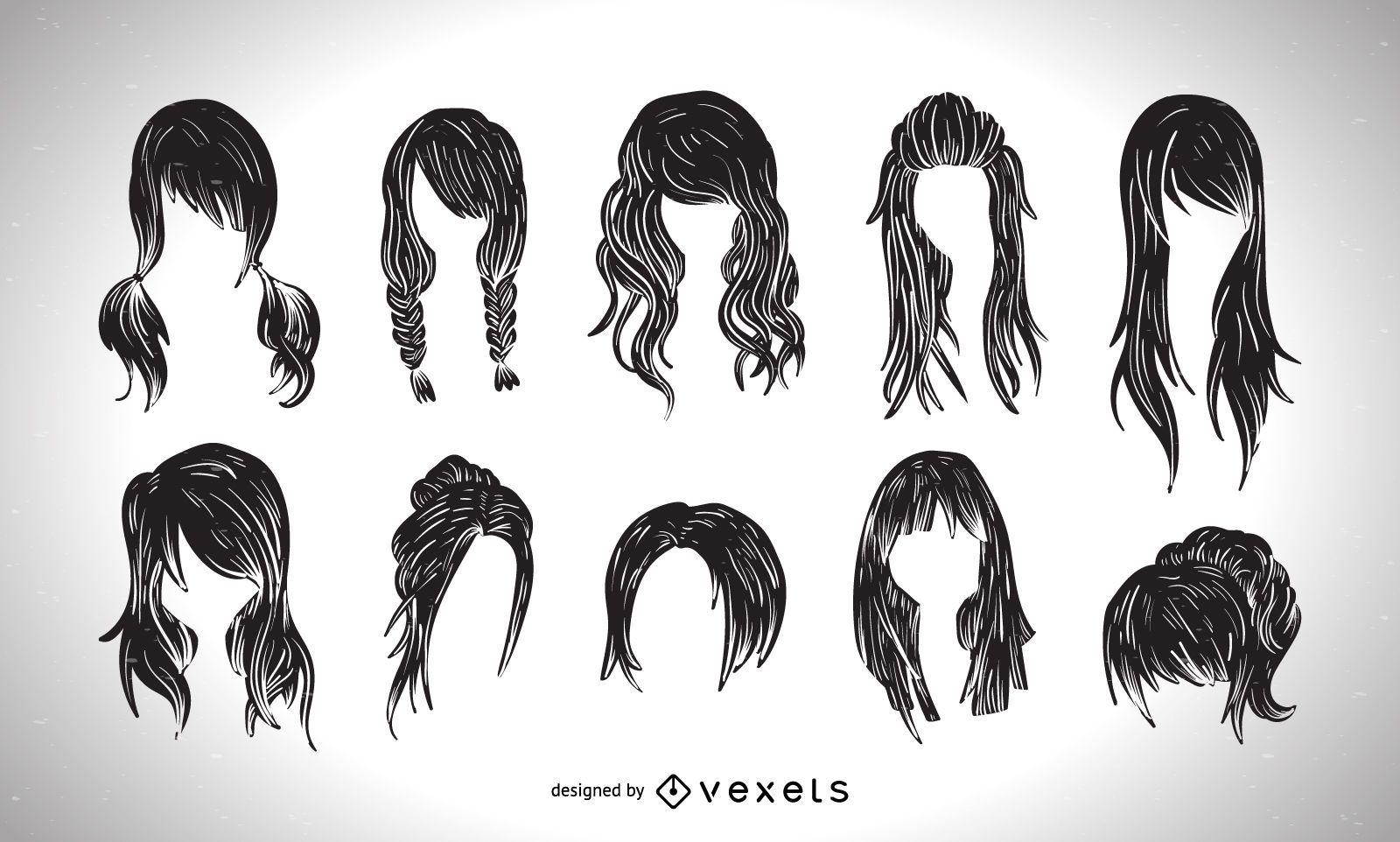 Colección gráfica de estilo de corte de pelo de mujer.