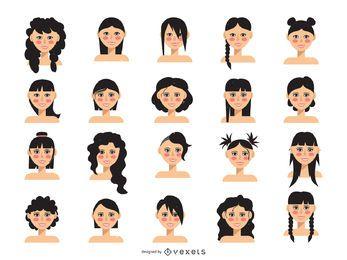 Coleção de avatar de corte de cabelo de mulheres