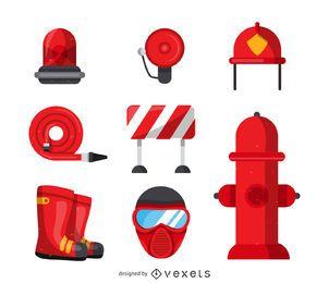 Feuerwehrmann Werkzeug Icons Sammlung