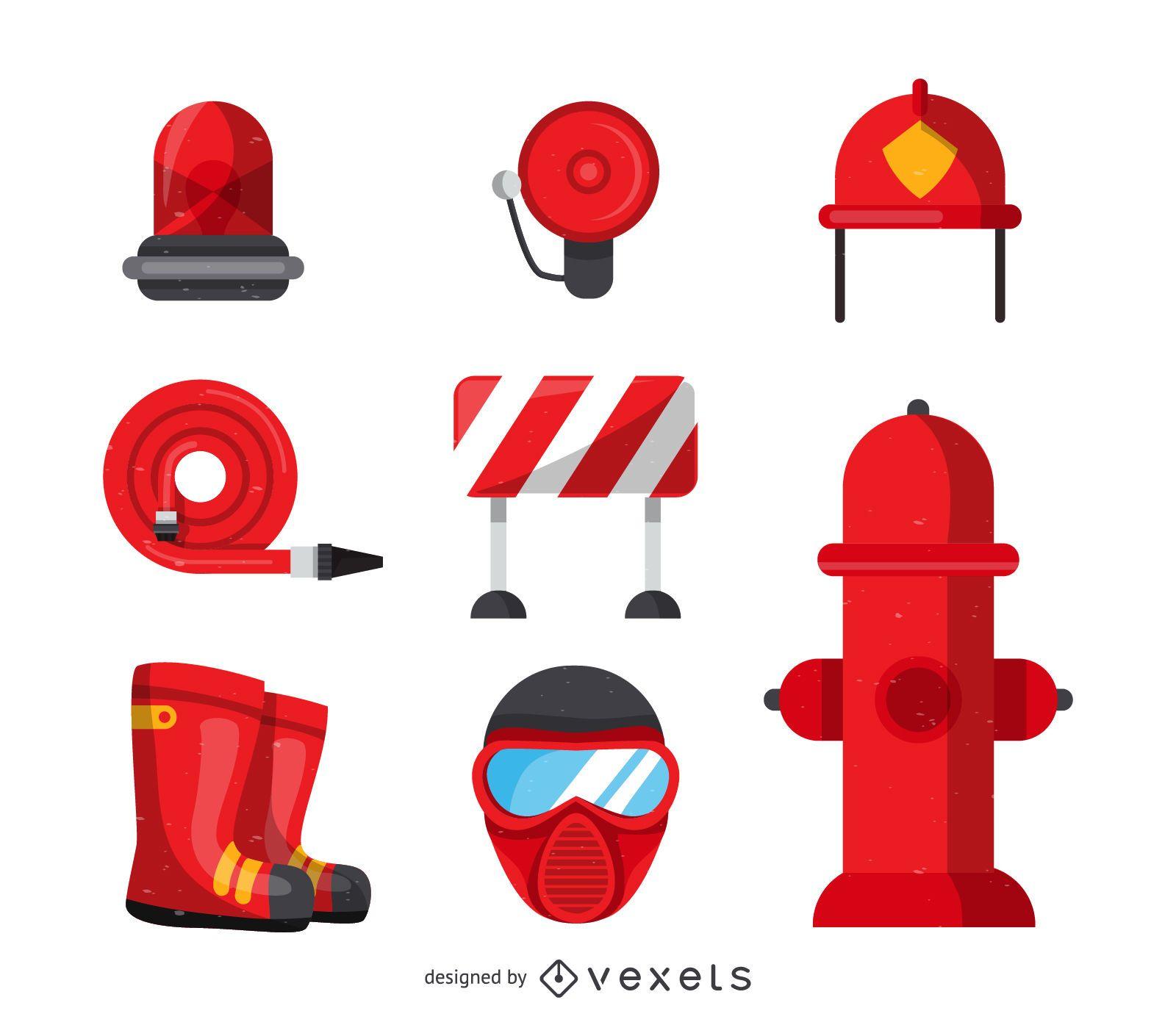 Fireman tools icons collection