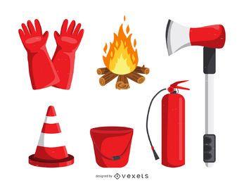 Colección de iconos de lucha contra incendios.