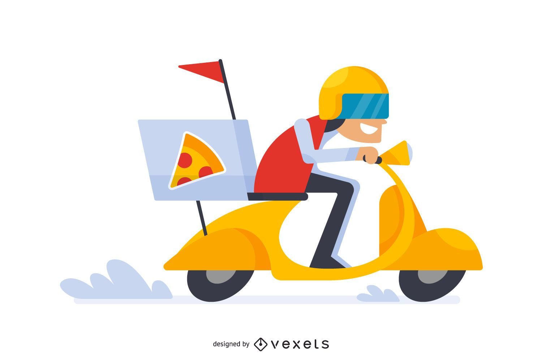 Dibujos animados de hombre de entrega de pizza