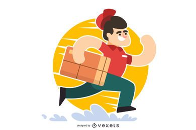 Running delivery man cartoon