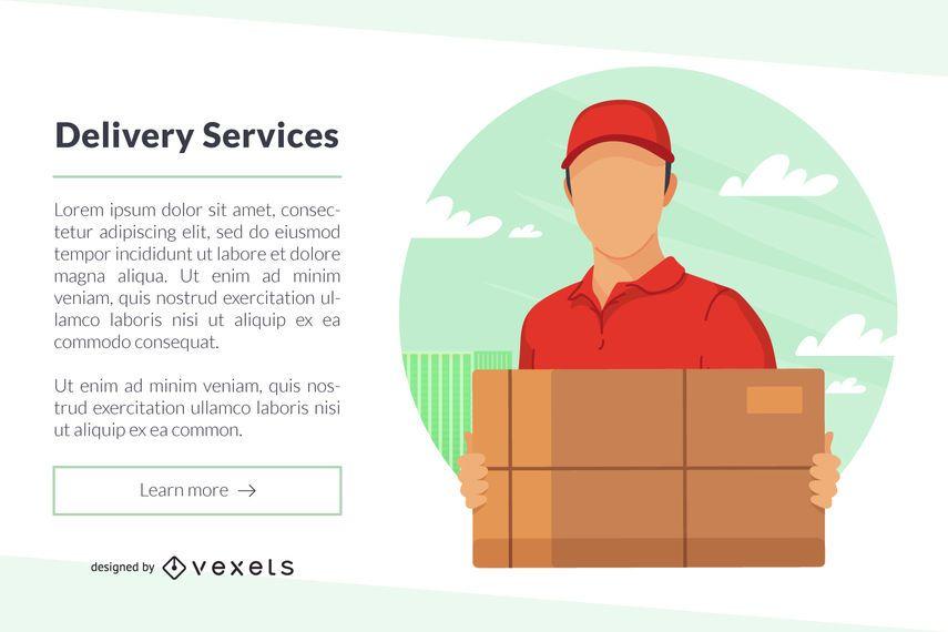 Modelo de Web de banner de serviços de entrega
