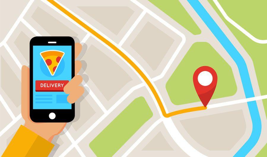 Pantalla de aplicación plana de mapa de entrega