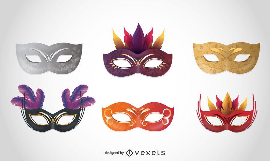 Coleção de máscaras de carnaval