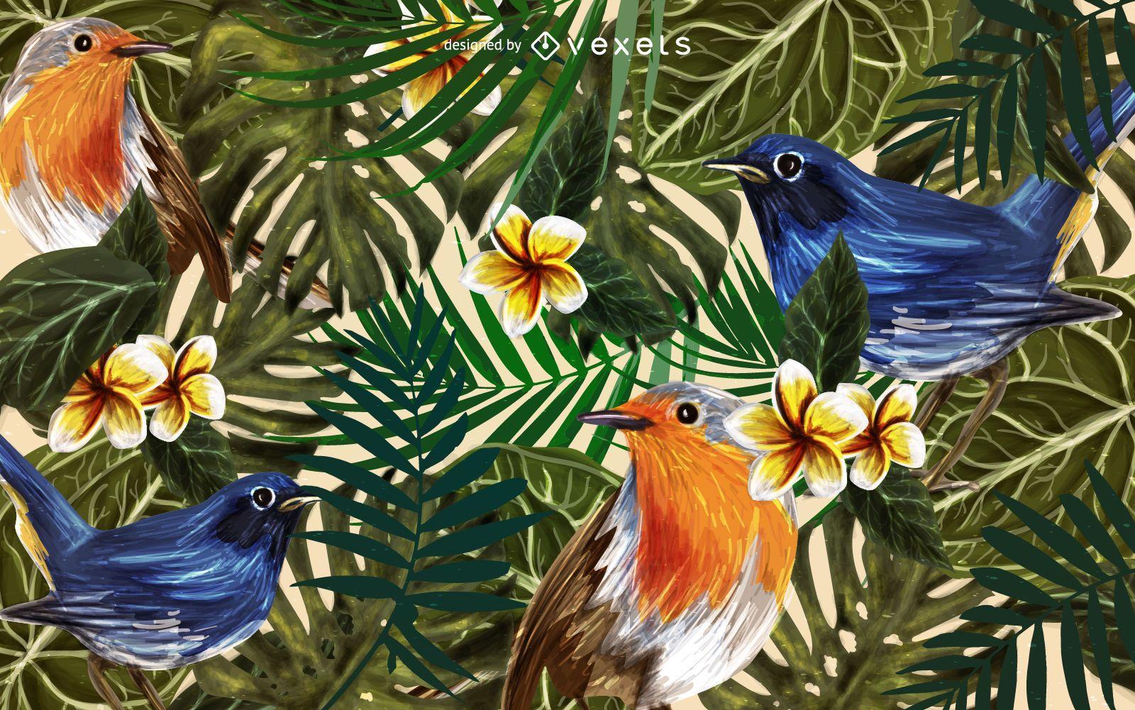 Fondo de aves tropicales pinz?n