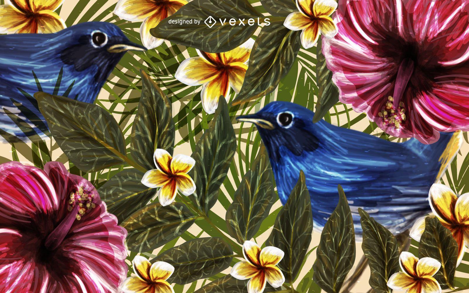 Exotic birds nature background
