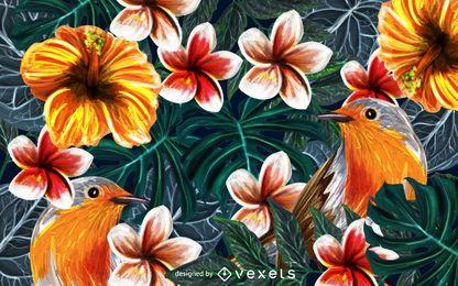 Fondo de naturaleza de pájaros tropicales