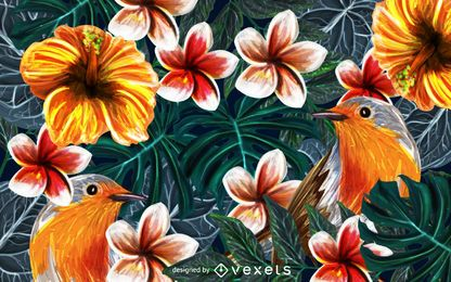 Tropical birds nature background