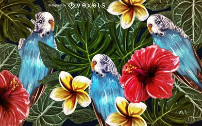Exotic parrots nature background