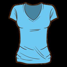 Desenhos animados azuis da camisa das mulheres