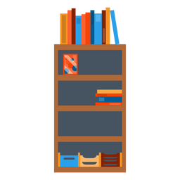 Bookshelf with office papers clipart