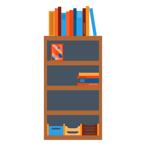 Bookshelf With Office Papers Clipart Transparent PNG