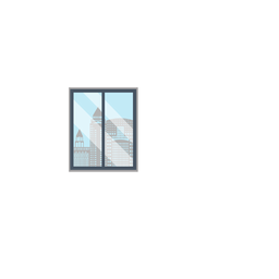 Figurino da janela do escritório da cidade