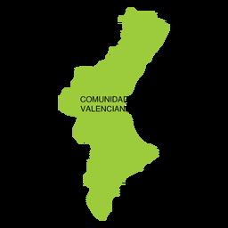 Mapa da comunidade autônoma da Comunidade Valencia